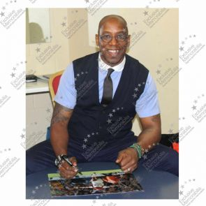 Ian Wright Signed Arsenal Photo: 179 Goals, Just Done It. Damaged A