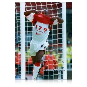 Ian Wright Signed Arsenal Photo: 179 Goals, Just Done It