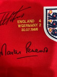 Geoff Hurst And Martin Peters Signed England 1966 Football Shirt - Damaged Stock B