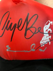 Nigel Benn And Chris Eubank Dual Signed Red Boxing Glove - Damaged Stock