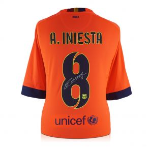 Andres Iniesta Signed 2014-15 Barcelona Away Shirt In Gift Box