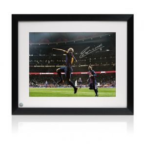 Andres Iniesta Signed Barcelona Photo: The Final Goal. Framed