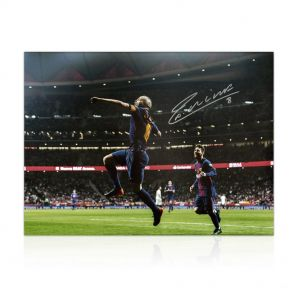 Andres Iniesta Signed Photo: Copa Del Rey Final In Gift Box