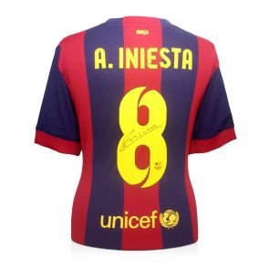 Signed Andres Iniesta Barcelona Jersey