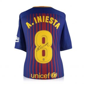 Andres Iniesta Signed 2017-18 Barcelona Home Shirt In Gift Box