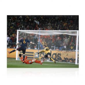 Andres Iniesta Signed Spain Photo: World Cup 2010 Winning Goal In Gift Box