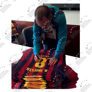 Andres Iniesta Signed 2013-14 Barcelona Football Shirt