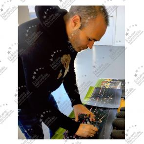 Andres Iniesta Signed Barcelona Photo: Copa Del Rey Final