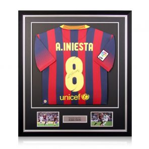 Andres Iniesta Signed Barcelona Shirt 2013-14. Deluxe Frame