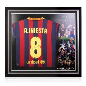 Andres Iniesta Signed Barcelona Shirt 2013-14. Premium Frame