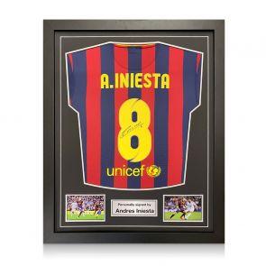 Andres Iniesta Signed Barcelona Shirt 2013-14. Standard Frame