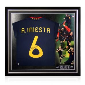 Andres Iniesta Signed 2010-11 Spain Away Shirt. Premium Frame