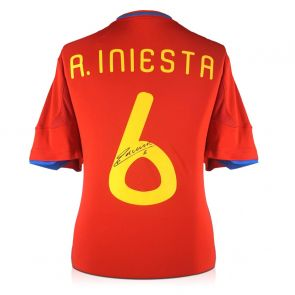 Andres Iniesta Signed 2009-10 Spain Home Shirt