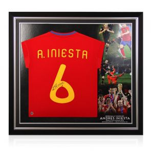 Andres Iniesta Signed 2009-10 Spain Home Shirt. Premium Frame