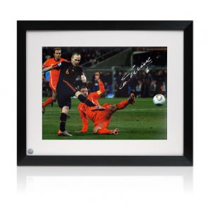 Andres Iniesta Signed Spain Photo: World Cup Winner. Framed