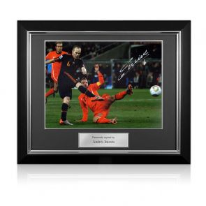 Andres Iniesta Signed Spain Photo: World Cup Winner. Deluxe Framed