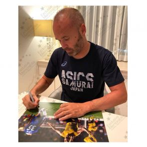 Andres Iniesta Signed Barcelona Photo: The Chelsea Goal