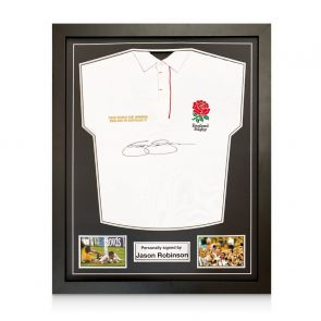 Jason Robinson Signed England Rugby Shirt. Standard Frame