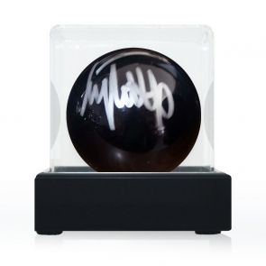 Jimmy White Signed Black Snooker Ball. In Display Case