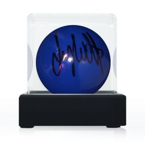 Jimmy White Signed Blue Snooker Ball. In Display Case