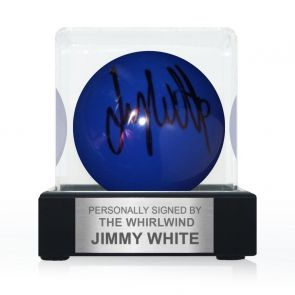 Jimmy White Signed Blue Snooker Ball. In Display Case With Plaque