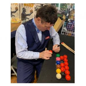 Jimmy White Signed Red Snooker Ball. In Display Case With Plaque