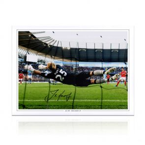 Joe Hart Signed Manchester City Photograph: Penalty Save. In Gift Box