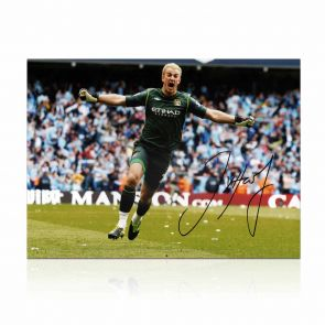 Joe Hart Signed Manchester City Photograph In Gift Box