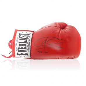 Joe Calzaghe Signed Red Everlast Boxing Glove: 46-0 In Display Case
