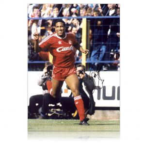 John Barnes Signed Liverpool Photograph: Celebrating A Goal. In Gift Box