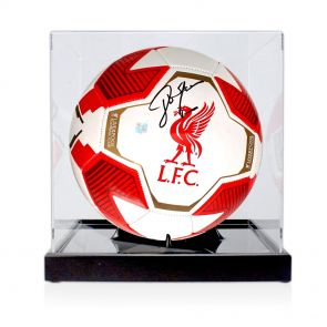 John Barnes Signed Liverpool Football In Display Case