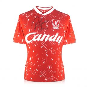 John Barnes Signed Liverpool Football Shirt. 1989-91 Candy. In Gift Box