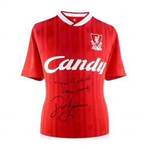 John Barnes Signed 1988-89 Liverpool Home Shirt: You'll Never Walk Alone In Gift Box