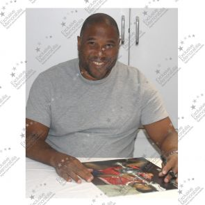 Deluxe Framed John Barnes Liverpool Photograph: Holding The League Championship (Silver Inlay)