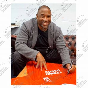 John Barnes Signed Liverpool 1987-88 Home Shirt. In Deluxe Black Frame With Silver Inlay