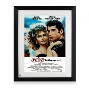 John Travolta Signed Grease Poster. Framed