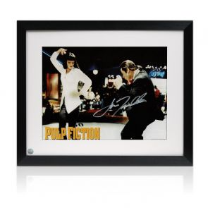 John Travolta Signed Pulp Fiction Poster: The Dance. Framed