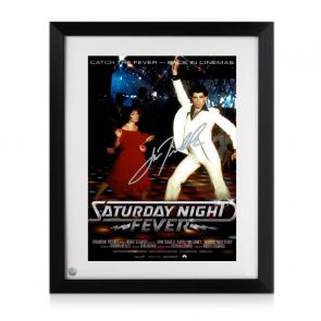 John Travolta Signed Saturday Night Fever Poster. Framed