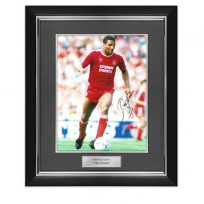 John Barnes Signed Liverpool Photo: On The Wing. Deluxe Frame