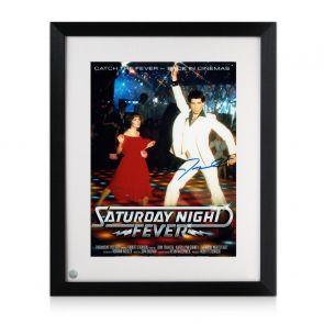 John Travolta Signed Saturday Night Fever Film Poster. Framed