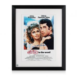 John Travolta Signed Grease Film Poster. Framed