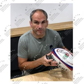 Martin Johnson And Jonny Wilkinson Signed England Rugby Ball. In Display Case