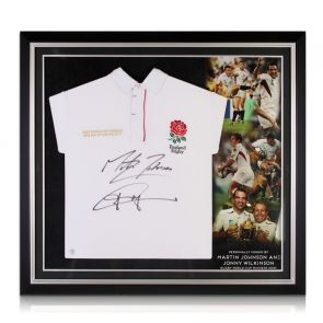 Jonny Wilkinson and Martin Johnson Signed England Shirt