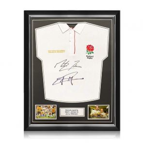 Jonny Wilkinson And Martin Johnson Signed England Rugby Shirt. Superior Frame