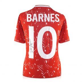 John Barnes Signed Liverpool Football Shirt 1989-91. Number 10. In Gift Box