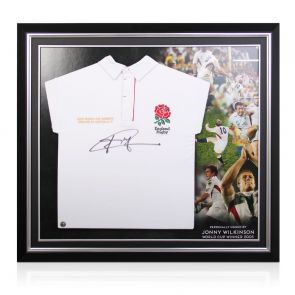 Jonny Wilkinson Signed England Rugby Shirt. Premium Frame