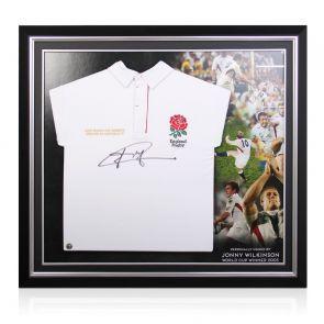 Jonny Wilkinson Signed England Rugby Shirt. Premium Frame