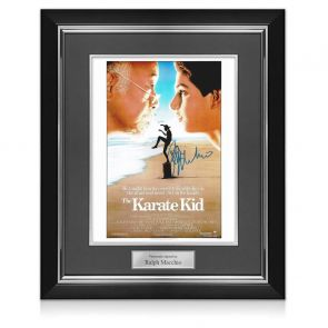 Ralph Macchio Signed Karate Kid Poster. Deluxe Framed
