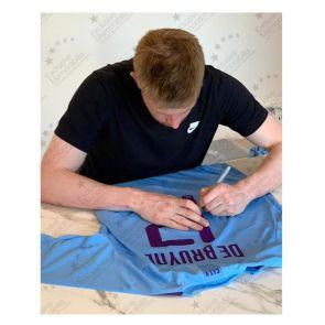 Kevin De Bruyne Signed Manchester City 2019-20 Shirt (European print). Framed