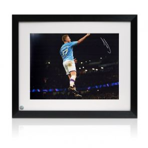 Kevin De Bruyne Signed Manchester City Photo. Framed